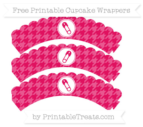 Free Ruby Pink Houndstooth Pattern Diaper Pin Scalloped Cupcake Wrappers