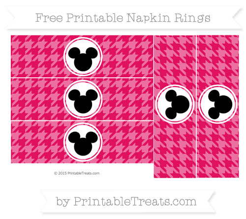 Free Ruby Pink Herringbone Pattern Mickey Mouse Napkin Rings