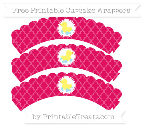 Free Ruby Pink Moroccan Tile Baby Duck Scalloped Cupcake Wrappers