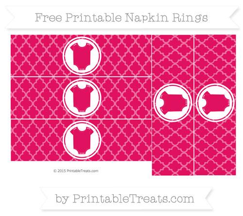 Free Ruby Pink Moroccan Tile Baby Onesie Napkin Rings