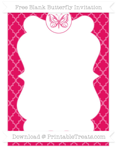 Free Ruby Pink Moroccan Tile Blank Butterfly Invitation
