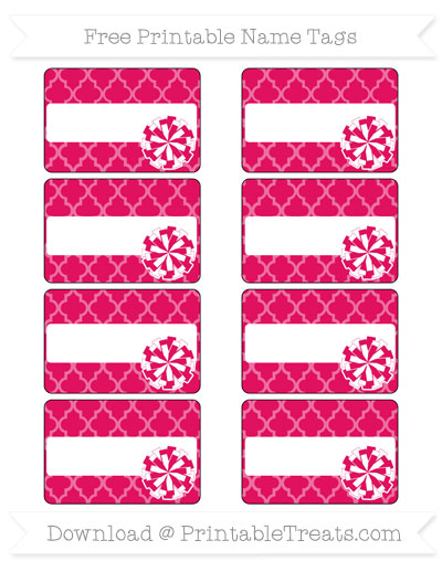 Free Ruby Pink Moroccan Tile Cheer Pom Pom Tags