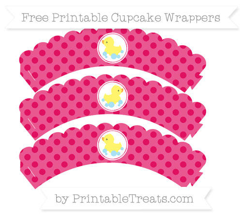 Free Ruby Pink Polka Dot Baby Duck Scalloped Cupcake Wrappers