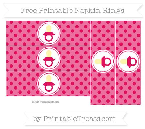 Free Ruby Pink Polka Dot Baby Pacifier Napkin Rings