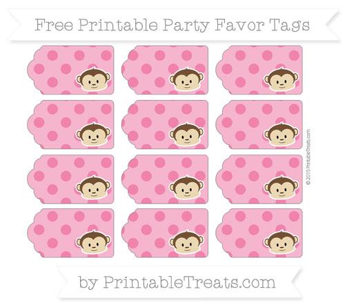Free Ruby Pink Polka Dot Boy Monkey Party Favor Tags