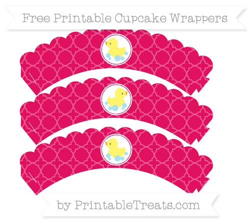 Free Ruby Pink Quatrefoil Pattern Baby Duck Scalloped Cupcake Wrappers
