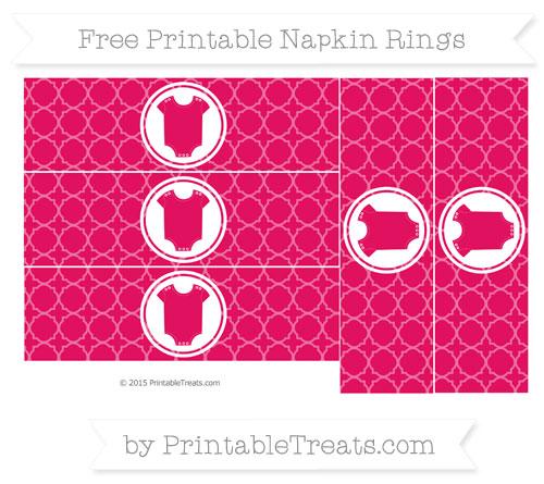 Free Ruby Pink Quatrefoil Pattern Baby Onesie Napkin Rings