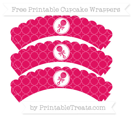 Free Ruby Pink Quatrefoil Pattern Baby Rattle Scalloped Cupcake Wrappers