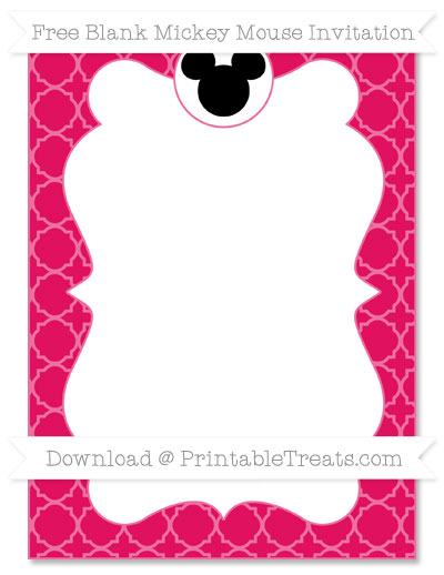 Free Ruby Pink Quatrefoil Pattern Blank Mickey Mouse Invitation