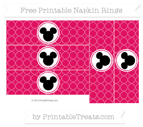 Free Ruby Pink Quatrefoil Pattern Mickey Mouse Napkin Rings
