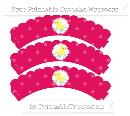 Free Ruby Pink Star Pattern Baby Duck Scalloped Cupcake Wrappers