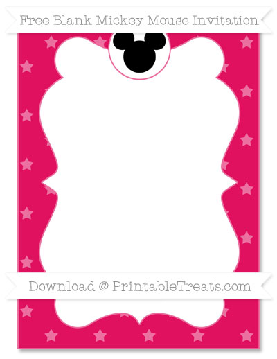 Free Ruby Pink Star Pattern Blank Mickey Mouse Invitation