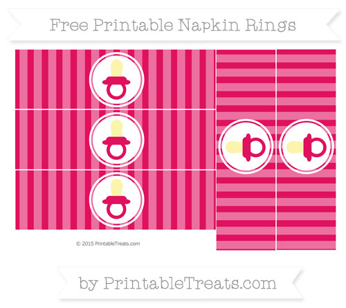Free Ruby Pink Striped Baby Pacifier Napkin Rings
