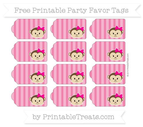 Free Ruby Pink Striped Girl Monkey Party Favor Tags