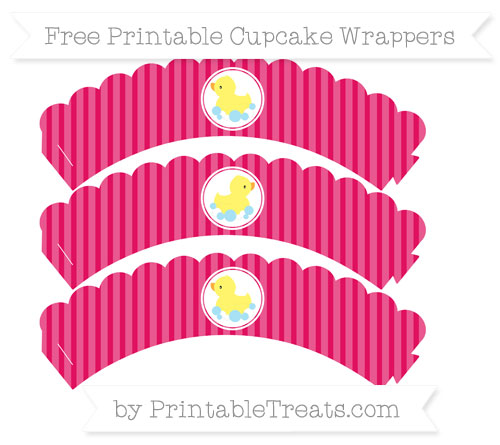 Free Ruby Pink Thin Striped Pattern Baby Duck Scalloped Cupcake Wrappers
