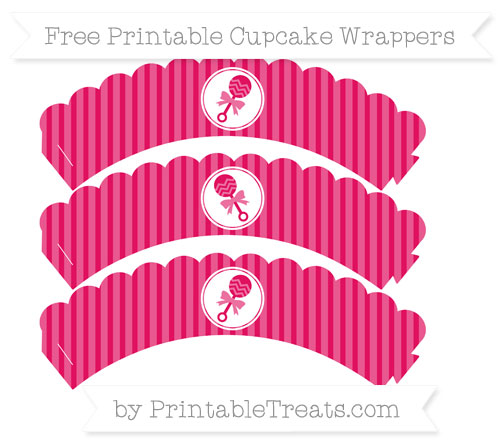 Free Ruby Pink Thin Striped Pattern Baby Rattle Scalloped Cupcake Wrappers