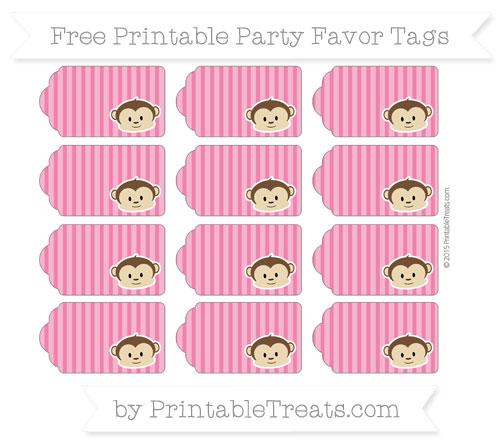 Free Ruby Pink Thin Striped Pattern Boy Monkey Party Favor Tags