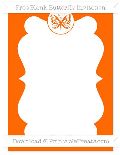 Free Safety Orange Blank Butterfly Invitation