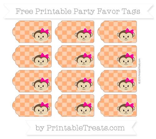 Free Safety Orange Checker Pattern Girl Monkey Party Favor Tags