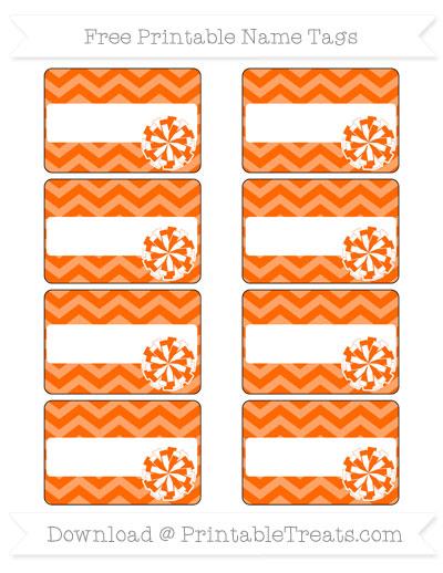 Free Safety Orange Chevron Cheer Pom Pom Tags