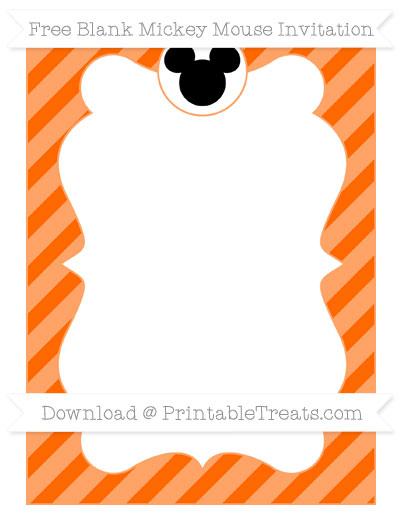 Free Safety Orange Diagonal Striped Blank Mickey Mouse Invitation