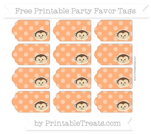Free Safety Orange Dotted Pattern Boy Monkey Party Favor Tags