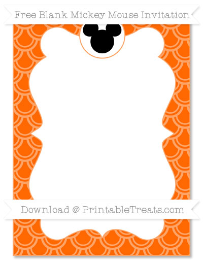 Free Safety Orange Fish Scale Pattern Blank Mickey Mouse Invitation