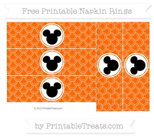 Free Safety Orange Fish Scale Pattern Mickey Mouse Napkin Rings