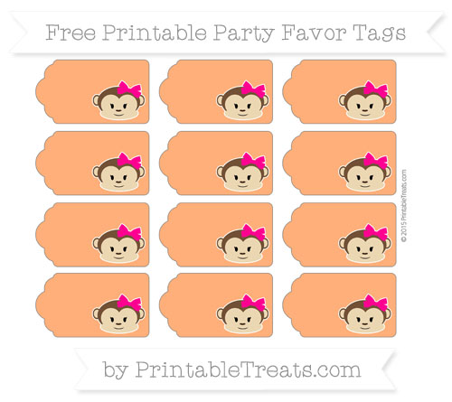 Free Safety Orange Girl Monkey Party Favor Tags