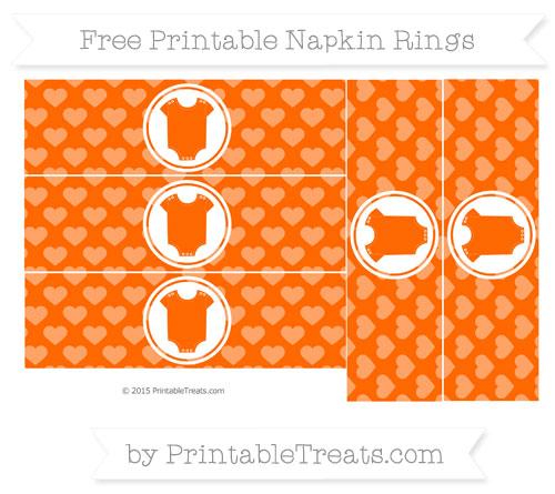 Free Safety Orange Heart Pattern Baby Onesie Napkin Rings