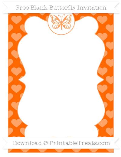 Free Safety Orange Heart Pattern Blank Butterfly Invitation