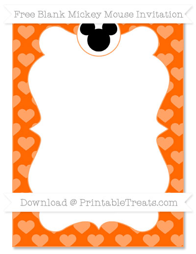 Free Safety Orange Heart Pattern Blank Mickey Mouse Invitation