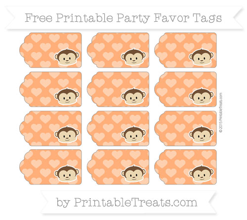 Free Safety Orange Heart Pattern Boy Monkey Party Favor Tags
