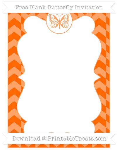 Free Safety Orange Herringbone Pattern Blank Butterfly Invitation