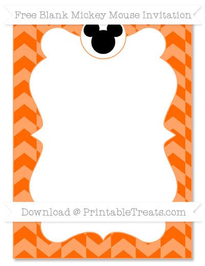Free Safety Orange Herringbone Pattern Blank Mickey Mouse Invitation