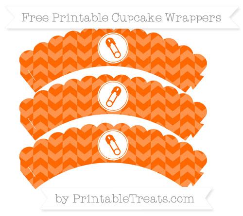 Free Safety Orange Herringbone Pattern Diaper Pin Scalloped Cupcake Wrappers