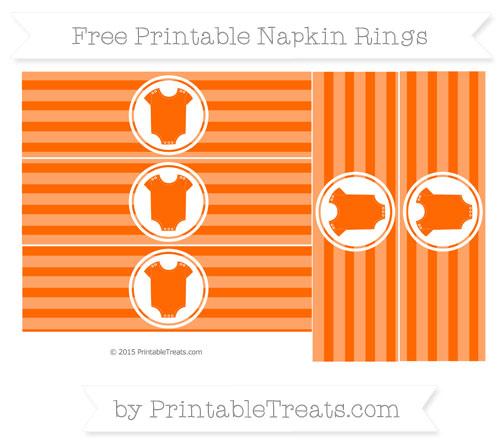 Free Safety Orange Horizontal Striped Baby Onesie Napkin Rings