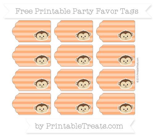 Free Safety Orange Horizontal Striped Boy Monkey Party Favor Tags