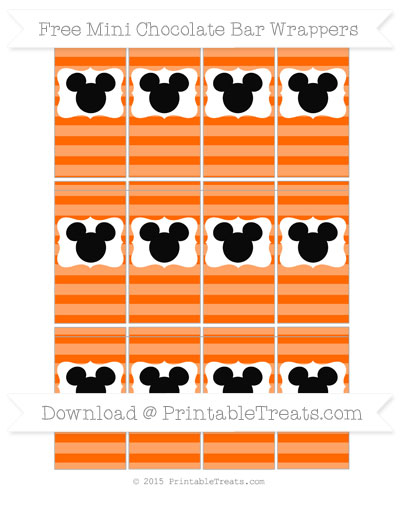 Free Safety Orange Horizontal Striped Mickey Mouse Mini Chocolate Bar Wrappers