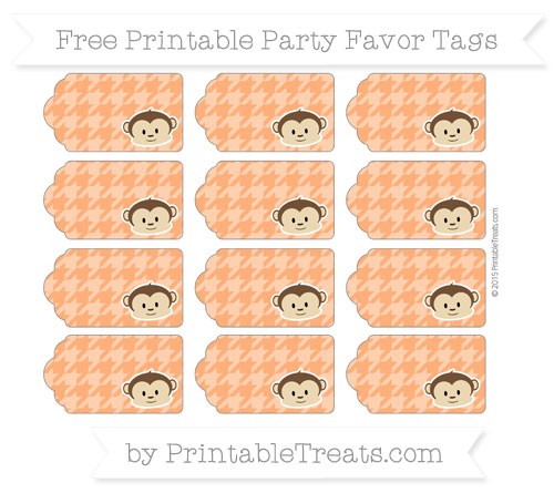Free Safety Orange Houndstooth Pattern Boy Monkey Party Favor Tags