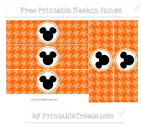 Free Safety Orange Herringbone Pattern Mickey Mouse Napkin Rings