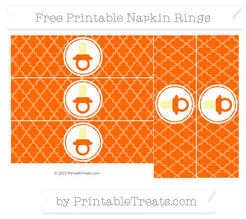 Free Safety Orange Moroccan Tile Baby Pacifier Napkin Rings