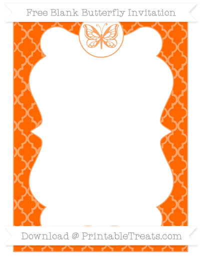 Free Safety Orange Moroccan Tile Blank Butterfly Invitation