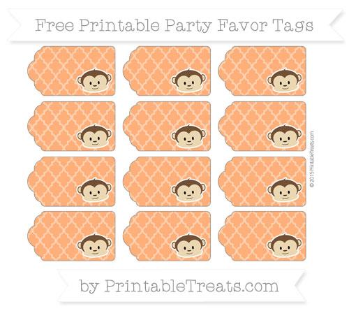 Free Safety Orange Moroccan Tile Boy Monkey Party Favor Tags