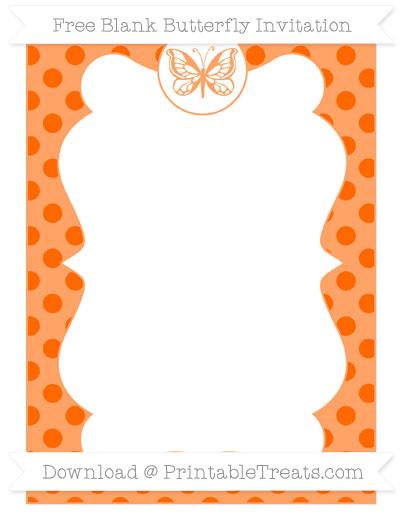 Free Safety Orange Polka Dot Blank Butterfly Invitation