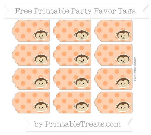 Free Safety Orange Polka Dot Boy Monkey Party Favor Tags