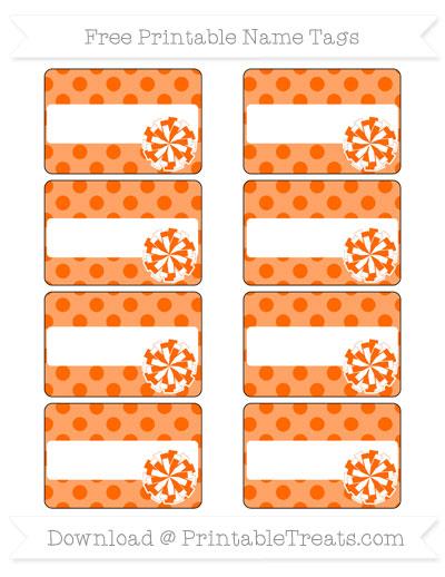 Free Safety Orange Polka Dot Cheer Pom Pom Tags