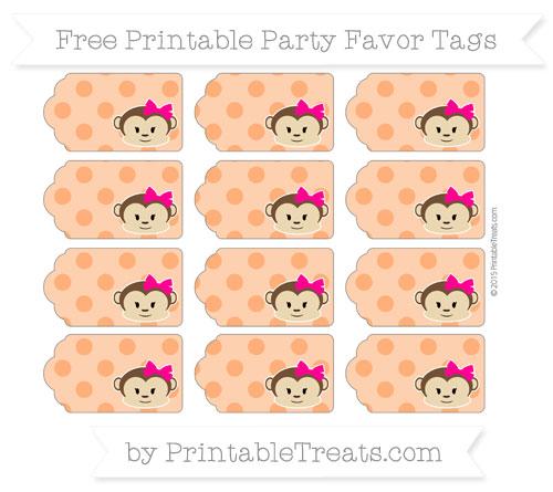 Free Safety Orange Polka Dot Girl Monkey Party Favor Tags