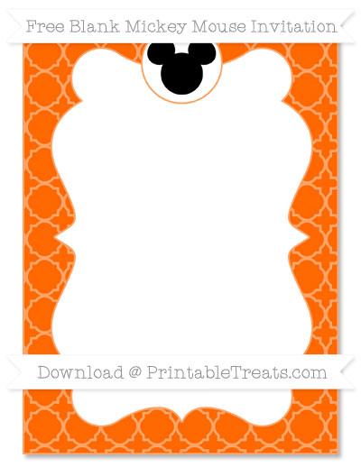 Free Safety Orange Quatrefoil Pattern Blank Mickey Mouse Invitation