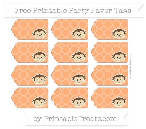 Free Safety Orange Quatrefoil Pattern Boy Monkey Party Favor Tags